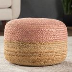 Oliana Ombre BeigeLight Pink Cylinder Pouf 2