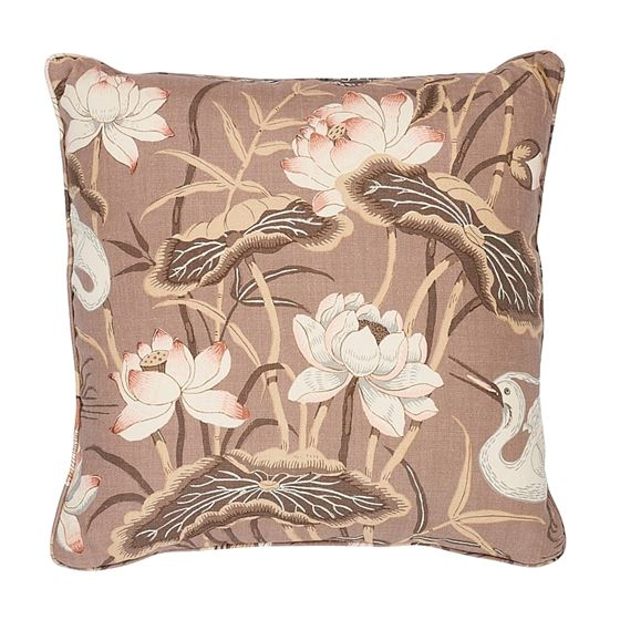 """So17293406 Lotus Garden 22"""" Pillow Mocha By Schumacher Furniture and Accessories 2"""