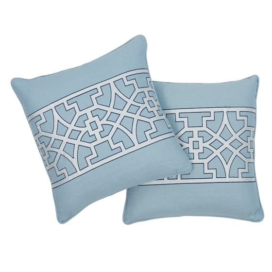 """So6618404 Don't Fret 18"""" Pillow Sky By Schumacher Furniture and Accessories 4"""