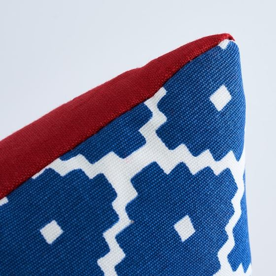 So17448714 Ziggurat Pillow Blue and Red By Schumacher Furniture and Accessories 4